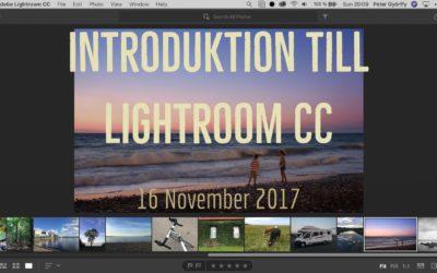 Webinar, Introduktion till Lightroom CC, 16 november