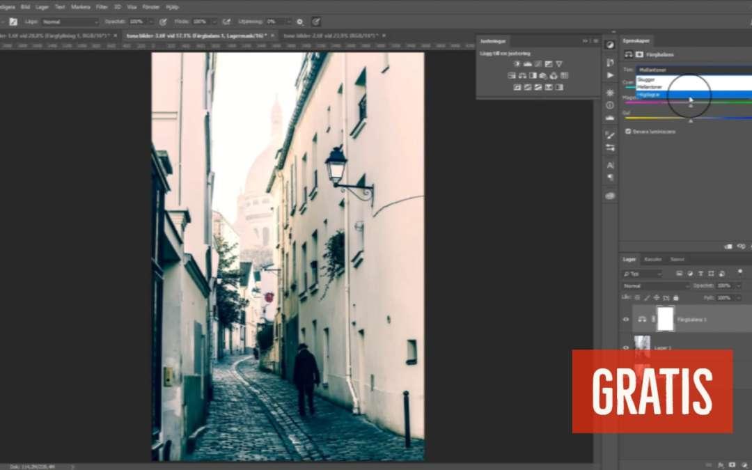 Tona bilder i Photoshop, färgbalans